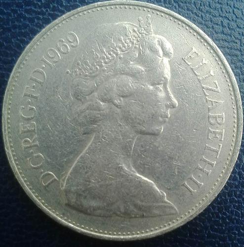 moneda de 10 new pence de inglaterra  año 1969