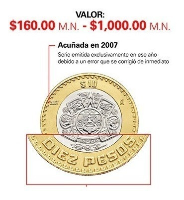 moneda de 10 pesos 2007 grafila invertida