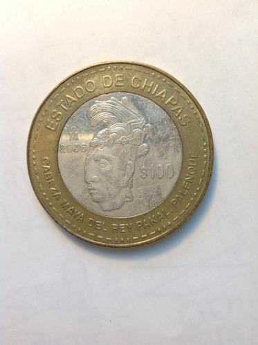 moneda de 100 pesos estado de chiapas 2da. fase plata