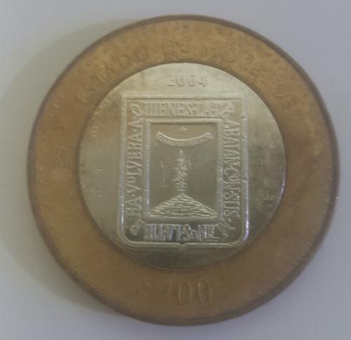 moneda de 100 pesos estado de morelos, escudo, plata, 2004