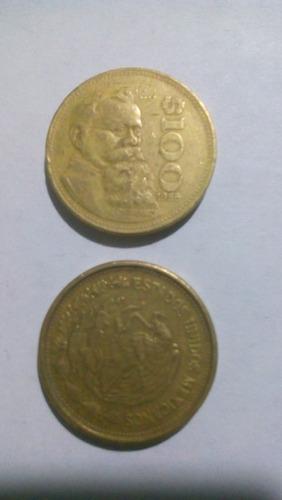 moneda de 100 pesos v. carranza, 1985-1988-1989-1990-1991