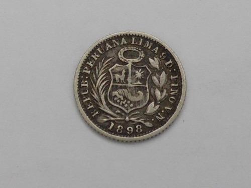 moneda de 1/2 dinero año 1898