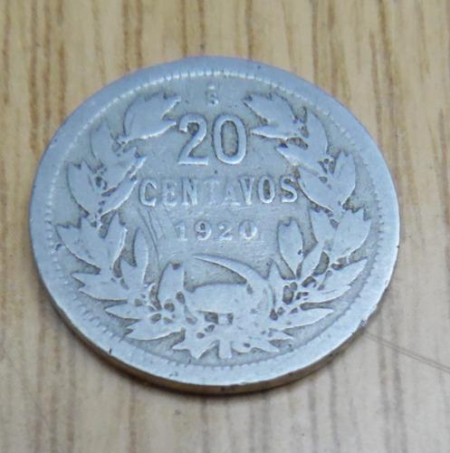 moneda  de 20 centavos año 1920.