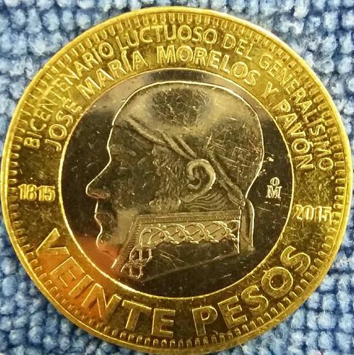 moneda de 20 pesos jose maria morelos y pavon