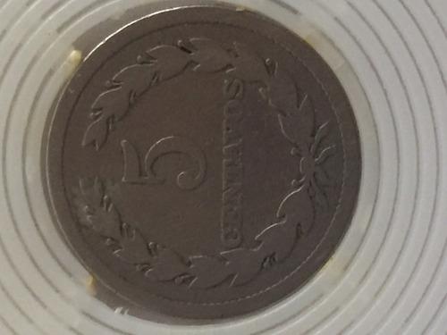 moneda de 5 centavos del salvador de 1918