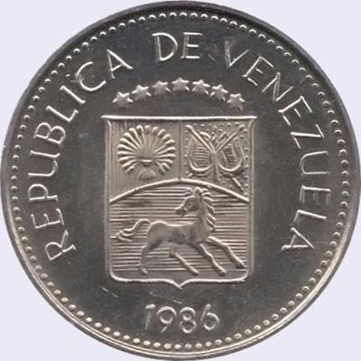 moneda de 5 centimos 1986  una puya (niquel)