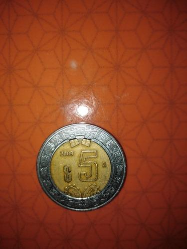 moneda de 5 pesos del año 2009
