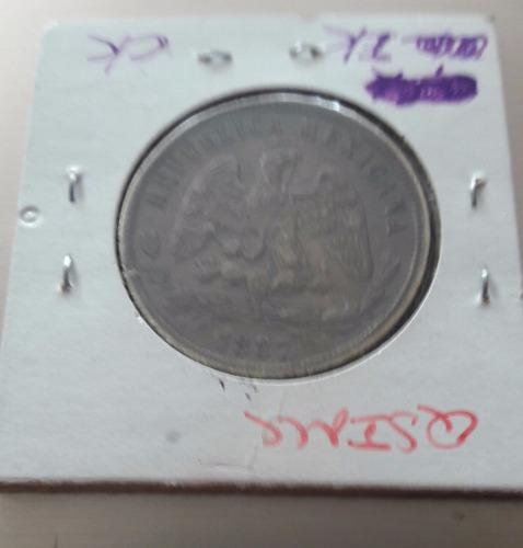 moneda de 50 cent. balanza 1887 cn.m. 2a. rep,mex. plata.