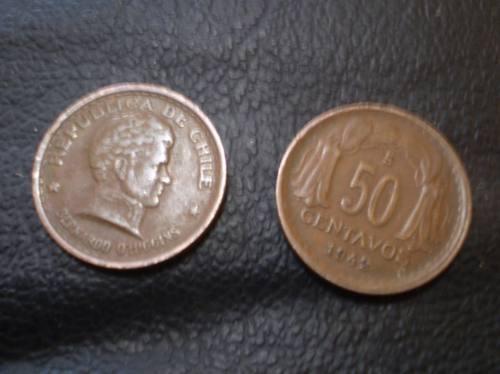 moneda de 50 chile centavos de 1942