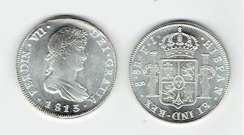 moneda de 8 reales plata 1813.  chile (repro).  jp