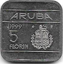 Moneda De Aruba 5 Florin Año 1999 Cuadrada Grande