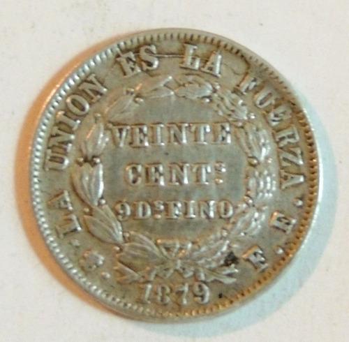 moneda de bolivia - 20 cent - 1879 fe - plata - en mendoza
