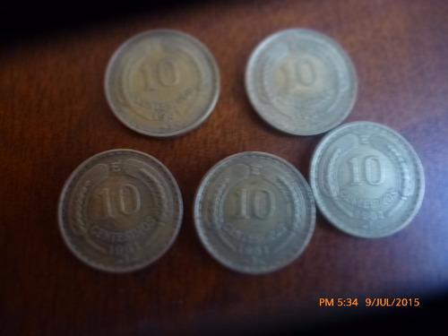 moneda de chile 10 centésimos de escudo 1961