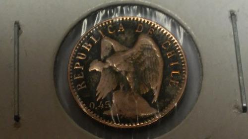 moneda de chile  5 centavos año 1919 de plata silver  escasa