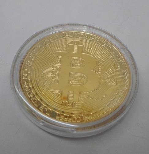 moneda de coleccion bitcoin banada en oro