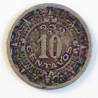 moneda de colección de méxico de 10 centavos del año 1939