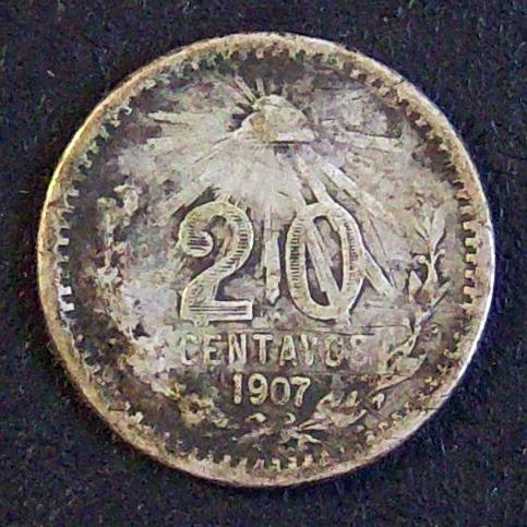 moneda de colección de méxico de 20 centavos del año 1907