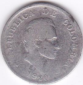 moneda de colombia! 20 cent 1920 - plata 0,900