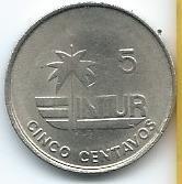 moneda  de  cuba  5  centavos  1981  intur  excelente