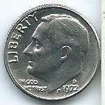 moneda  de  ee  uu  1  dime  1972  (d)  excelente