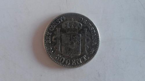 moneda de españa de 50 centavos de peseta de plata de 1892