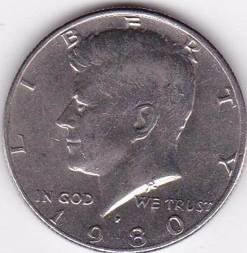 moneda de estados unidos! medio dolar 1980 p
