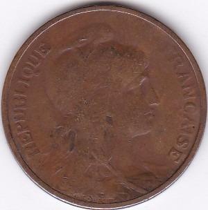 moneda de francia! 5 centimes 1912 - bronce