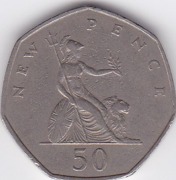 moneda de great britain! 50 pence 1969