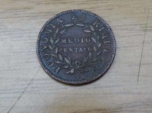 moneda de medio centavo año 1853