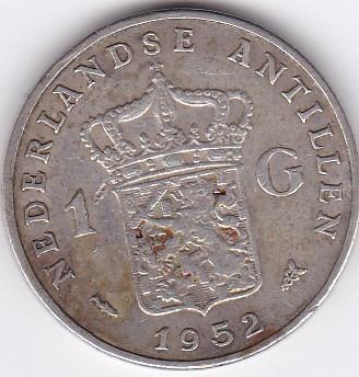 moneda de netherlands antilles! 1 gulden 1952 - plata 0,720