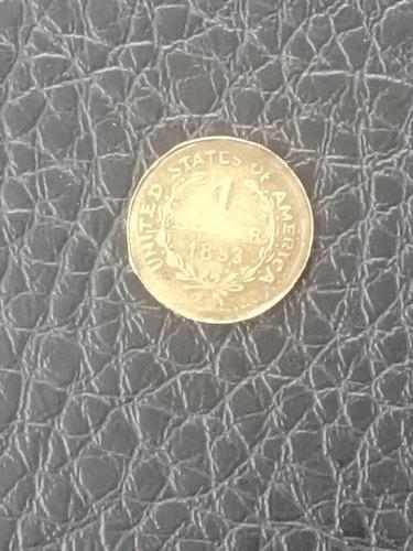 moneda de oro antigua de un dólar de 1853