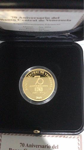 moneda de oro conmemorativa 70 aniversario bcv 31.10 gramos