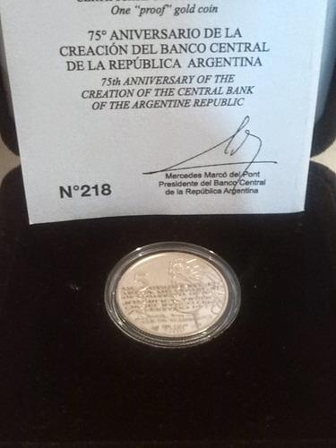 moneda de oro del 75° aniversario del bcra