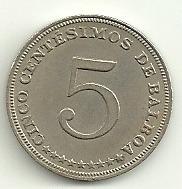 moneda de panama! 5 centesimos 1966