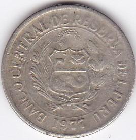 moneda de peru! 5 soles 1977
