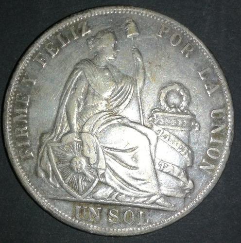 moneda de plata 1 un sol 1871.