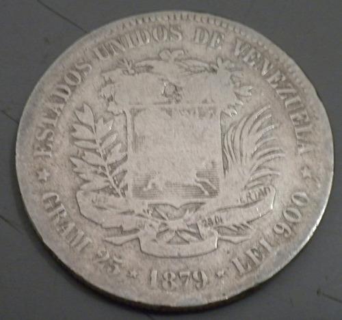 moneda de plata. 1879. lei 900 25 gr