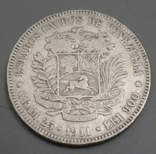 moneda de plata. 1911. lei 900 25 gr
