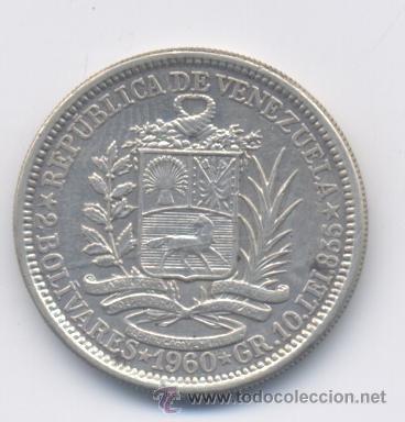 moneda de plata 1960 dos bolivares