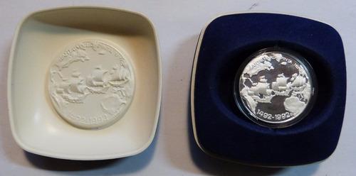 moneda de plata 500 aniversario de critobal colón