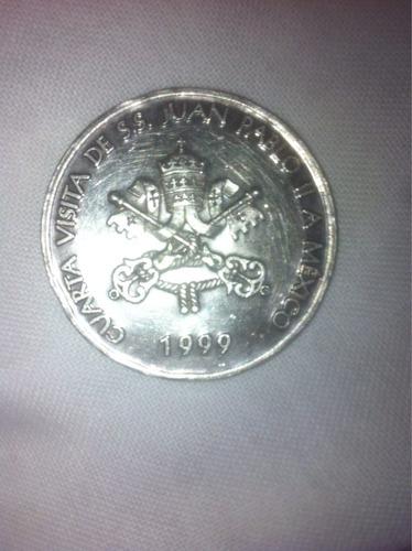 moneda de plata .999 de juan pablo segundo en su visita a mx
