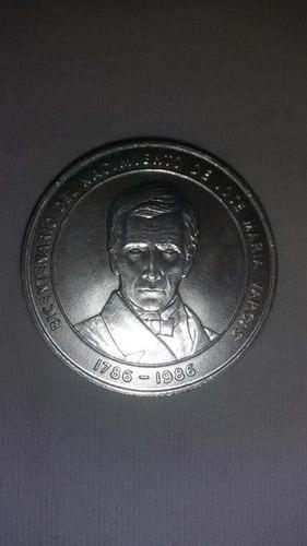 moneda de plata bicentenario de josé maría vargas 1786-1986