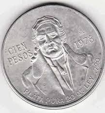 moneda de plata cien pesos morelos 1977 y1978