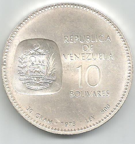 moneda de plata de 10 bolívares, doblón 1973 - 30 gramos