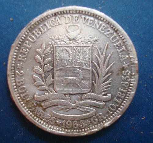 moneda de plata de 2 bs 1965 10 gr ley 835