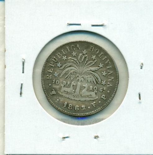 moneda de plata de 2 sueldos año 1863