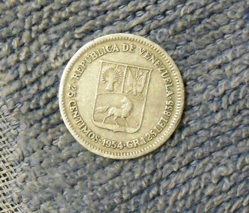 moneda de plata de 25 cms año 1954 república de venezuela