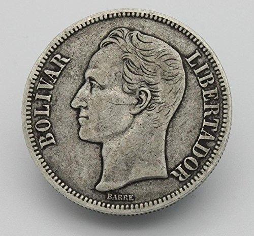 moneda de plata de 5 bolivares de 1924 de coleccion