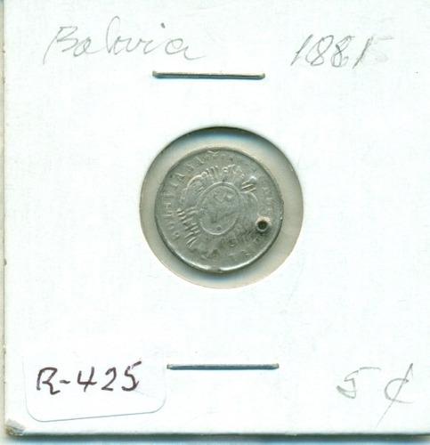 moneda de plata de 5 centavos (perforada) año 1881