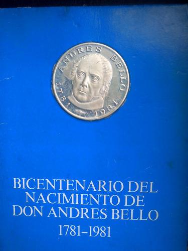 moneda de plata de andrés bello 1781-1981